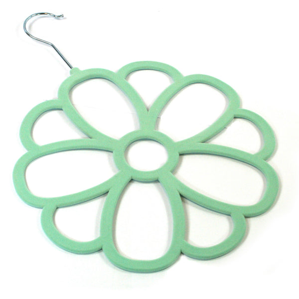 Large Mint Flower Scarf Hanger with a flocked non slip coating