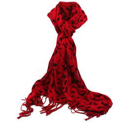 Cat Scarf - Black on Red