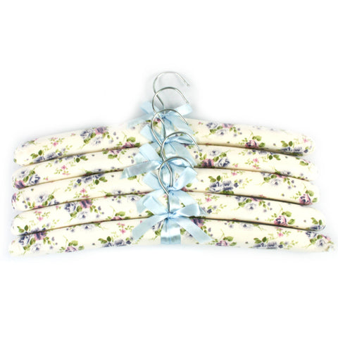 Set of 5 Padded hangers with a silk feel finish in a blue flower design