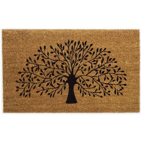 Large High Quality Coir Door Mat - Tree Design