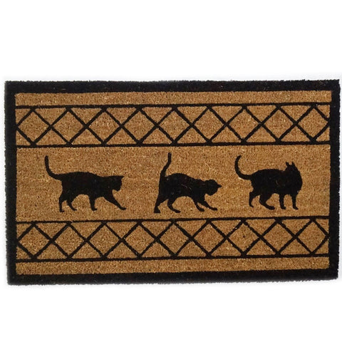 Large High Quality Coir Door Mat - Cats Design