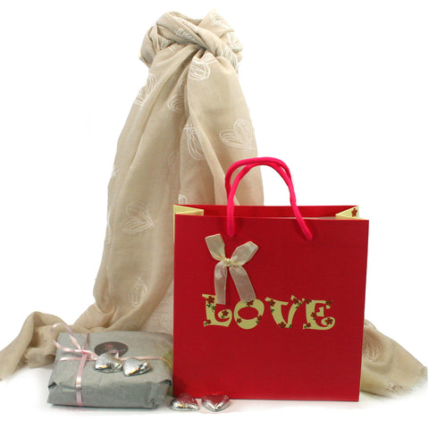 Scarf and Chocolate Gift Set - Natural Hearts