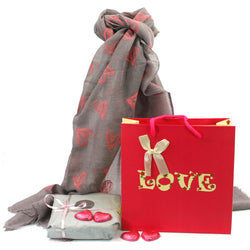 Scarf and Chocolate Gift Set - Grey Hearts