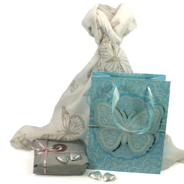 Scarf and Chocolate Gift Set - Butterflies in a Blue Bag