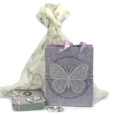 Scarf and Chocolate Gift Set - Butterflies in a Purple Bag