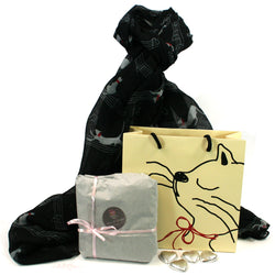 Scarf and Chocolate Gift Set - Cats & Music in a Cat Bag