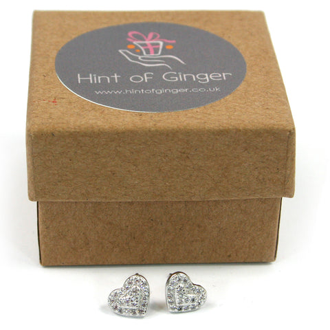 Silver & Diamante Heart Earrings