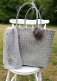 Large Lime Grey Weave Beach Bag with a Pompom Key Ring decoration