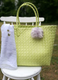 Large Lime Green Weave Beach Bag with a Pompom Key Ring decoration