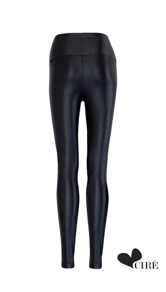High Waisted Shiny Black Legging