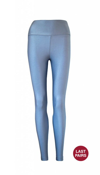 High Waisted Silvery Clear Blue Legging