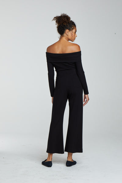 Rio Crop Wide Leg Flare Pant - Black