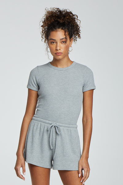 Willow Waffle Slim Fit Tee - Light Heather Grey