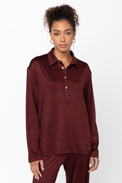 Fallon Half Button Up - Bordeaux