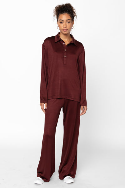 Fallon Pocket Pant - Bordeaux
