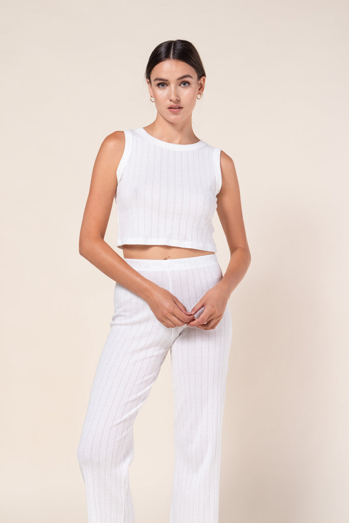 Pointelle Sleeveless Crewneck - White