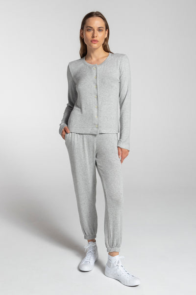 Lori Classic Cardigan - Heather Grey