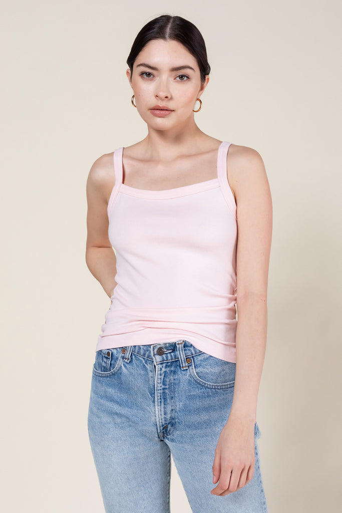 Rio Square Neck Tank - Blush