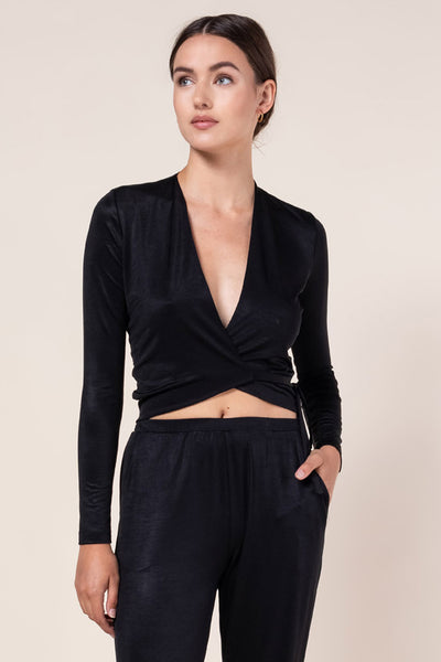 Fallon Wrap Top - Black