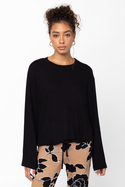 Lori Drawstring Crewneck - Black