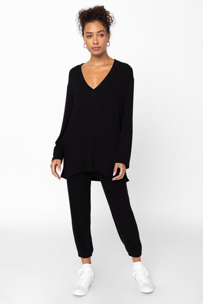 Lori V Neck Tunic - Black
