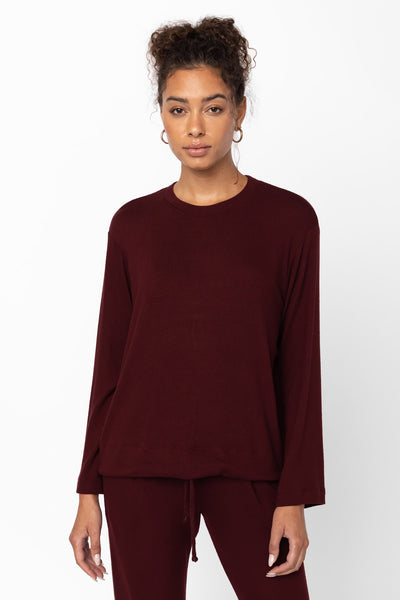 Lori Drawstring Crewneck - Bordeaux