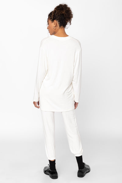 Lori V Neck Tunic - White