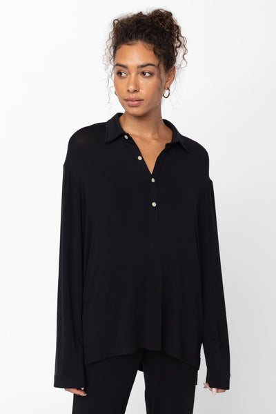 Nora Half Button Up - Black