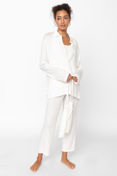 Nora Nuit Half Button Up - White