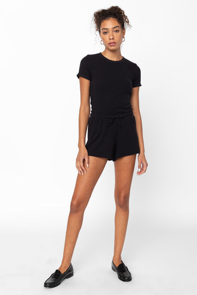 Pointelle Drawstring Short - Black