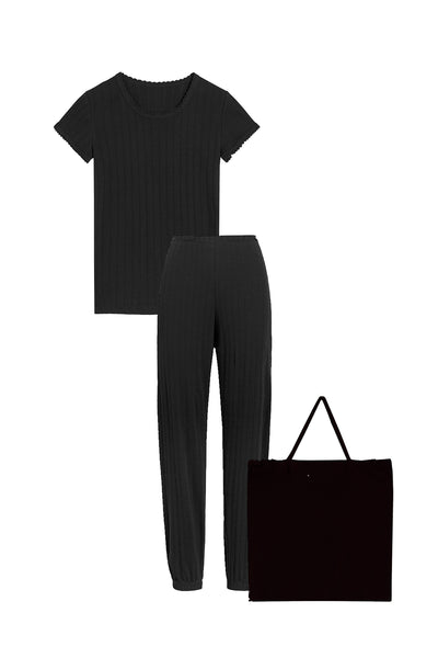 Pointelle Tee & Jogger Set - Black