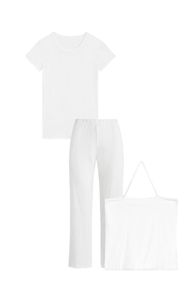 Pointelle Tee & Pant Set - White