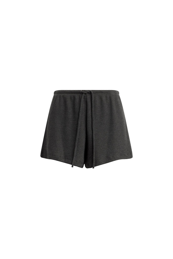 Willow Waffle Drawstring Short - Charcoal