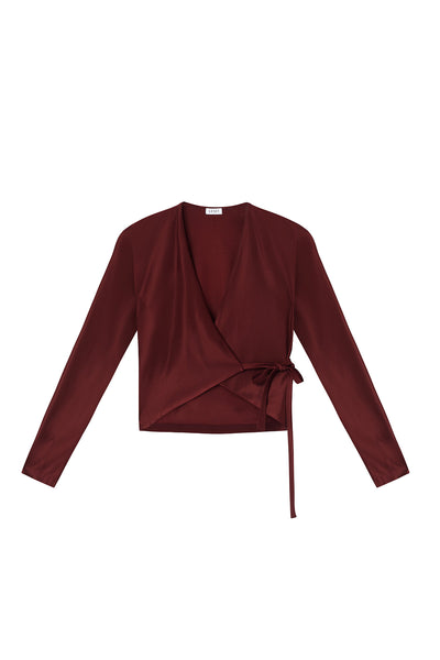 Fallon Wrap Top - Bordeaux