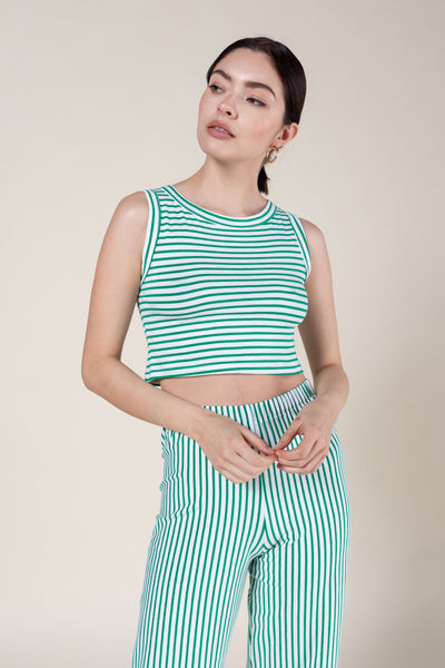 Laura Striped Cropped Sleeveless Crewneck