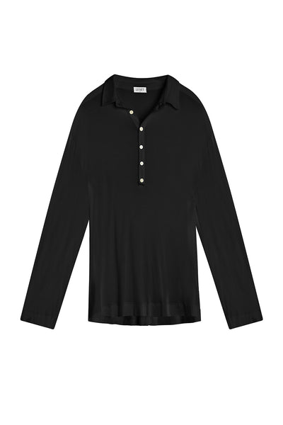 Nora Nuit Half Button Up - Black