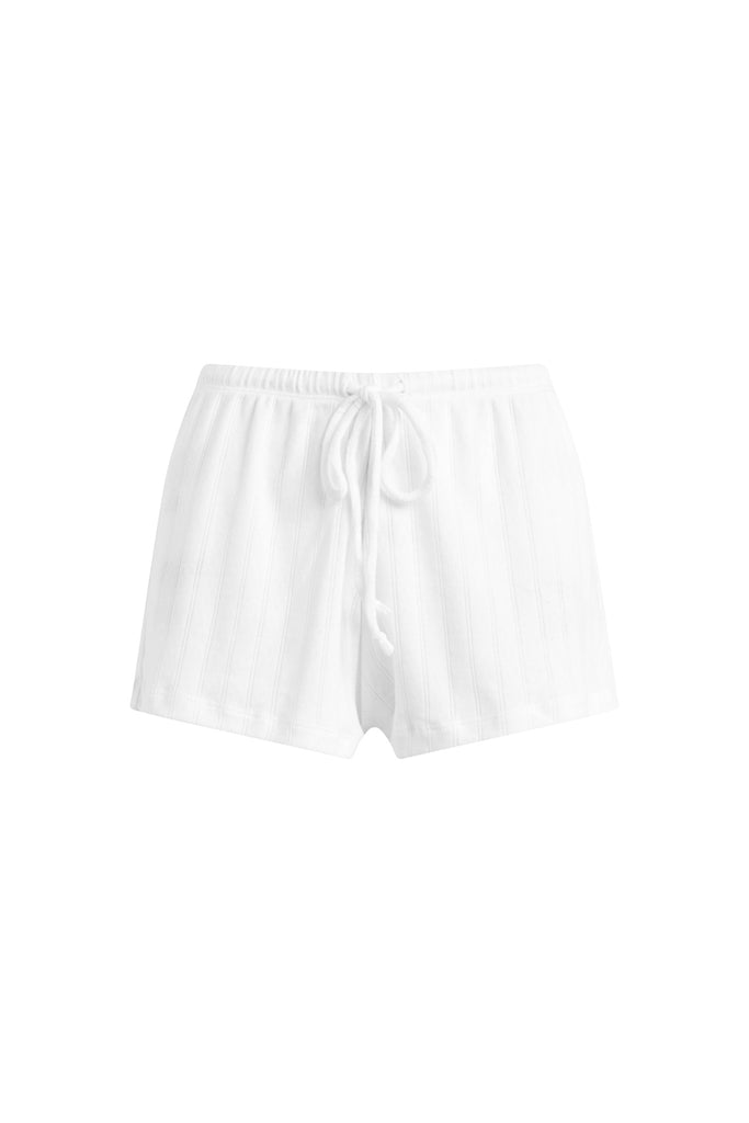 Pointelle Drawstring Short - White