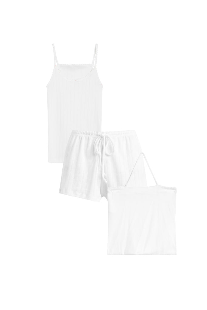Pointelle Tank & Short Set - White
