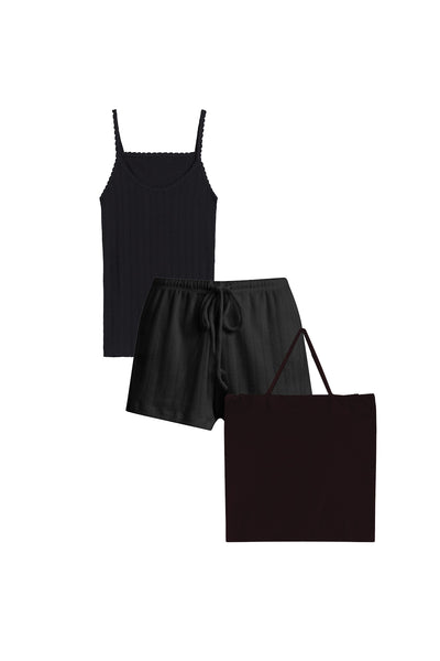 Pointelle Tank & Short Set - Black