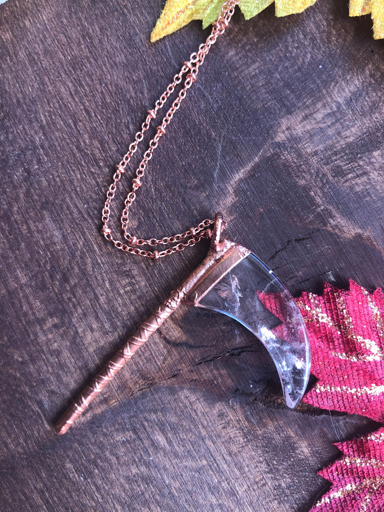 Clear Quartz Scythe Necklace