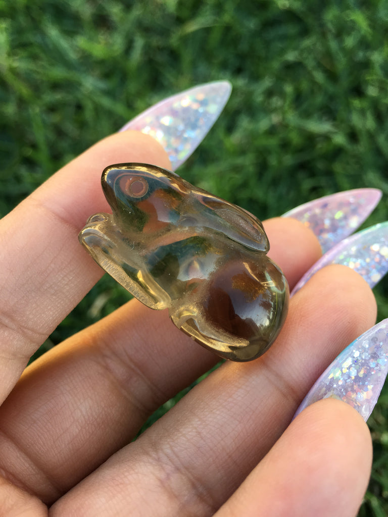 Hand Carved Smokey Quartz Bunny (1)