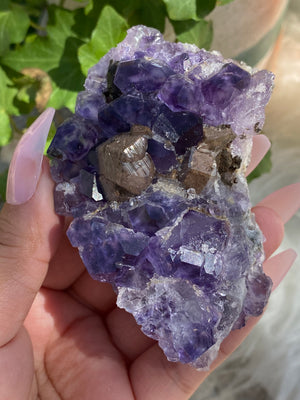 Fluorite with Quartz and Calcite