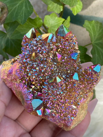 Sunset Aura Spirit Quartz Cluster