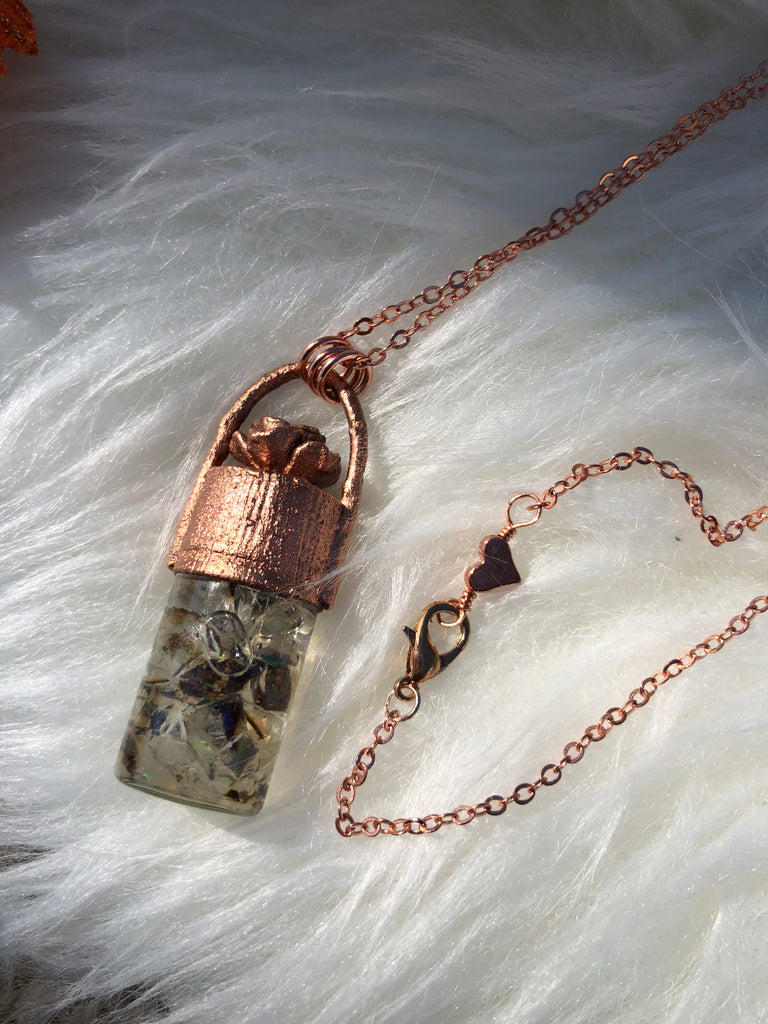 RESERVED - Opal Potion Vial Necklace