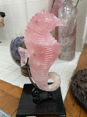 Load image into Gallery viewer, Hand Carved Rose Quartz Seahorse