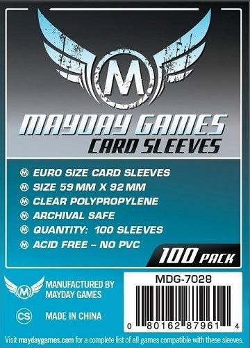 Mayday Games Euro Standard Card Sleeves 59mm x 92mm 100CT