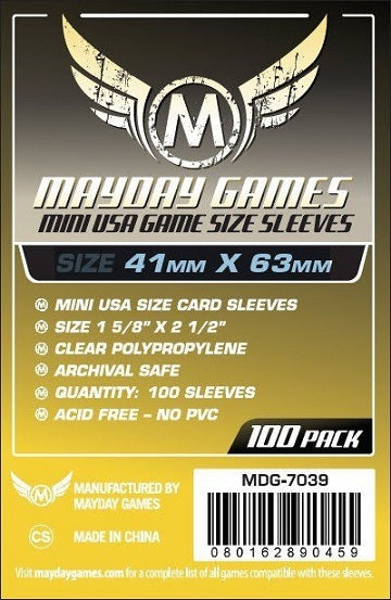 Mayday Games Mini USA Standard Card Sleeves 41mm x 63mm 100CT