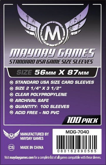 Mayday Games USA Standard Card Sleeves 56mm x 87mm 100CT