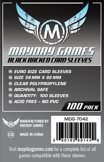Mayday Games Euro Standard Black Backed Card Sleeves 59mm x 92mm 100CT