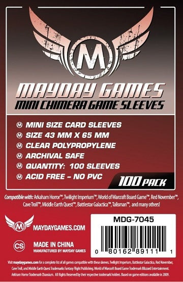 Mayday Games Mini Chimera USA Standard Card Sleeves 43mm x 65mm 100CT